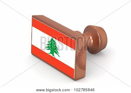 Wooden Stamp With Lebanon Flag