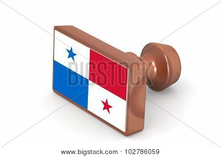 Wooden Stamp With Panama Flag
