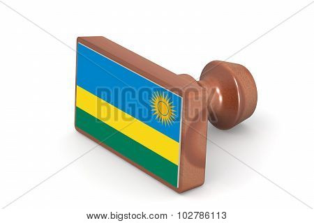 Wooden Stamp With Rwanda Flag