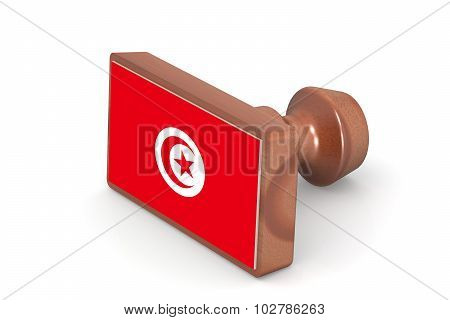 Wooden Stamp With Tunisia Flag