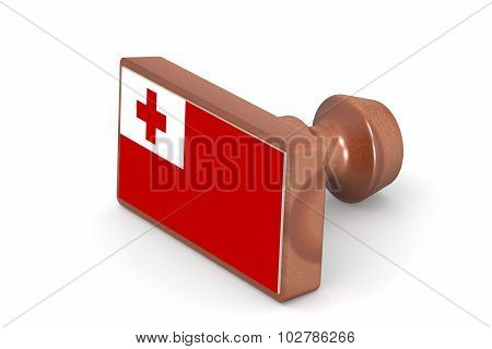Wooden Stamp With Tonga Flag