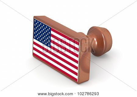 Wooden Stamp With United States Flag