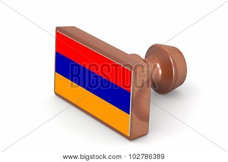 Blank Wooden Stamp With Armenia Flag