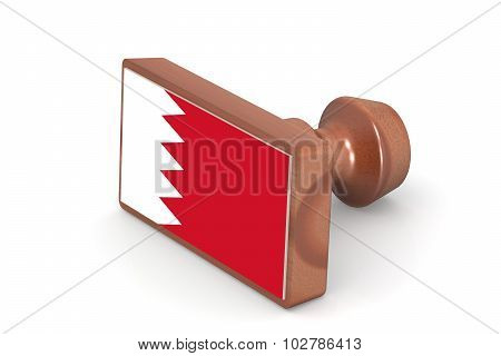 Wooden Stamp With Bahrain Flag