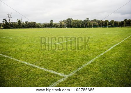 Empty rugby pitch at the park