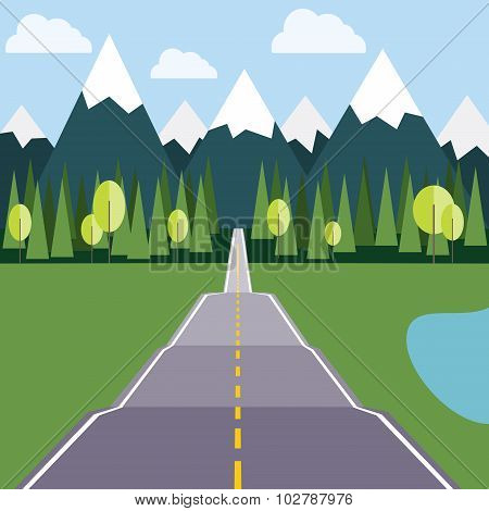 Road To Mountains Flat Illustration