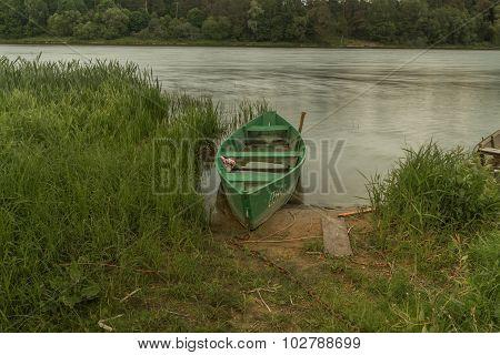 Green Boat Between Herbs