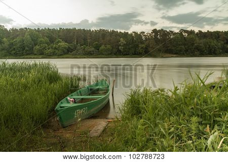 Green Boat In River