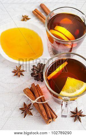 Honey,  Tea With Lemon And Cinnamon Sticks