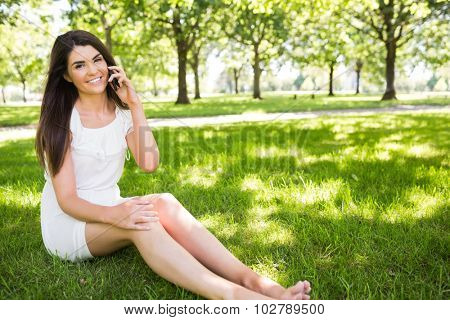 Portrait of beautiful woman talking on smartphone while sitting on grassland
