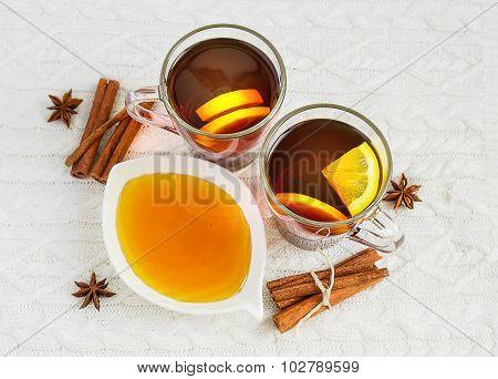 Black Tea With Lemon, Cinnamon And Honey.