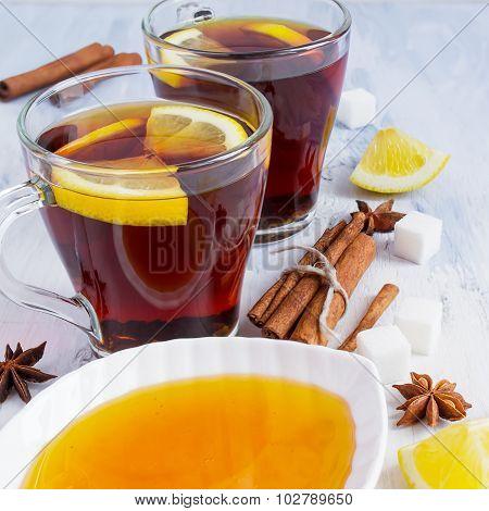 Honey Tea With Lemon And Cinnamon. Winter Still Life