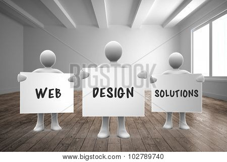 web design solutions against empty white room