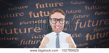 Geeky businessman with thumbs up against blackboard