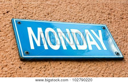 Monday blue sign