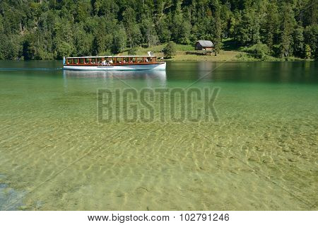 Boat On Lake Nearby Schonau Am Konigssee, Germany