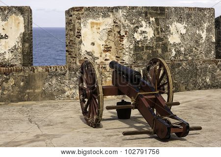 Historic Cannon At The Ready In Old San Juan Puerto Rico