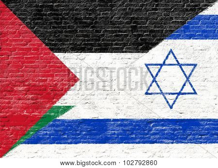 Israel and Palestine - National flag on Brick wall