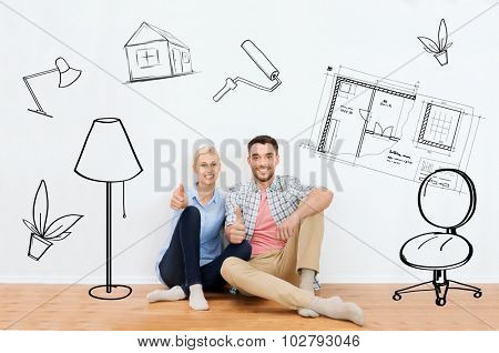 home, people, repair, moving and real estate concept - happy couple sitting on floor and showing thumbs up at new place over interior doodles background