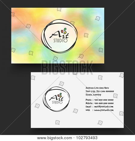 Beautiful stylish horizontal business card, name card or visiting card set in multiple colors for your profession, company and organization.