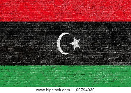 Libya - National flag on Brick wall
