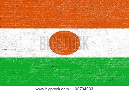 Niger - National flag on Brick wall