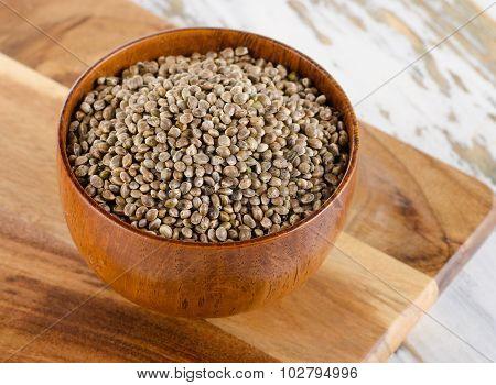 Hemp Seeds On  Wooden Table.