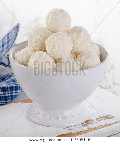 White Chocolate Candies In Bowl.
