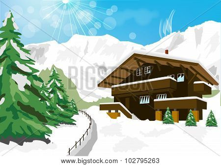 Winter Scenery With Snow, Chalet And Mountains