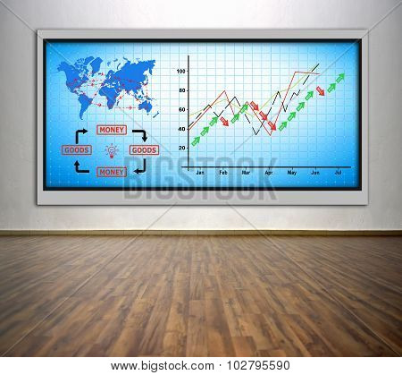 Plasma Tv With Chart And Air Travel Plan