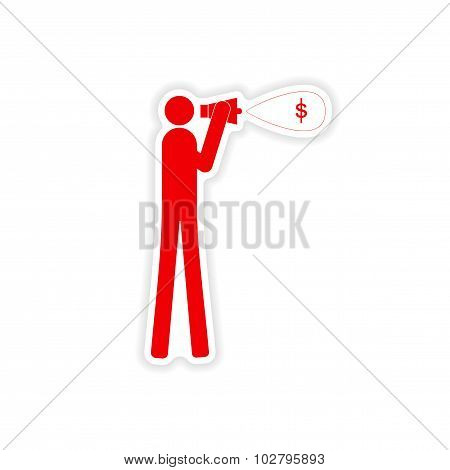 stylish sticker on paper man megaphone money