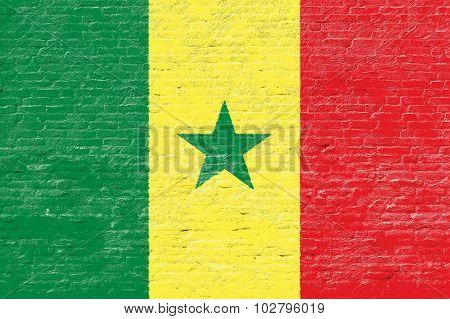 Senegal - National flag on Brick wall