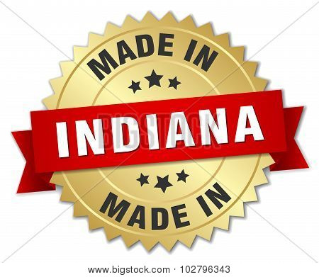 Made In Indiana Gold Badge With Red Ribbon