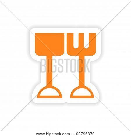 icon sticker realistic design on paper Children rake