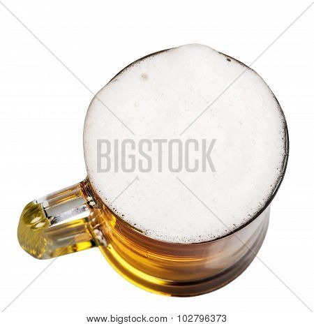 Mug Of Beer With Foam On A White