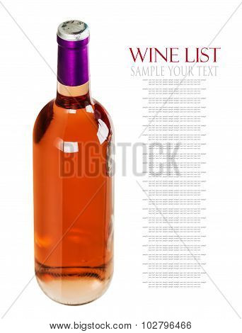Bottle With Pink Wine Isolated On White