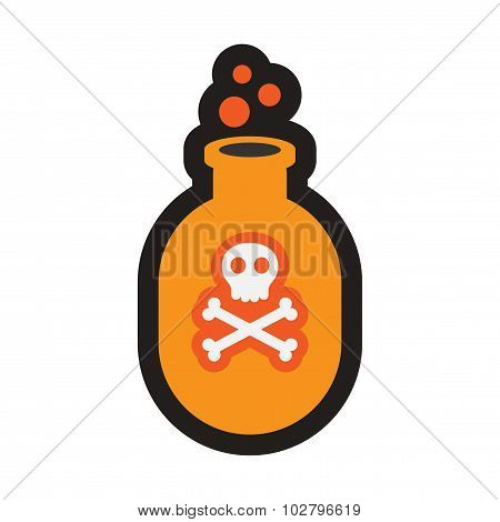 Flat with shadow icon and mobile application potion bottle