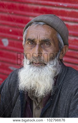 Portrait Indian Man. Srinagar, Kashmir, India. Close Up