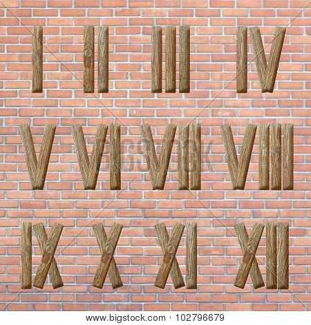 Roman Numerals Set On Brick Wall Background