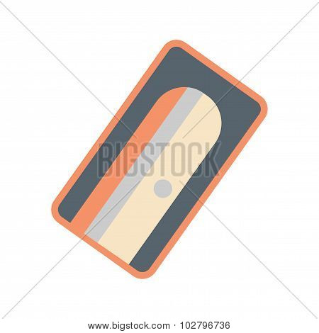 Flat with shadow icon and mobile application pencil sharpener