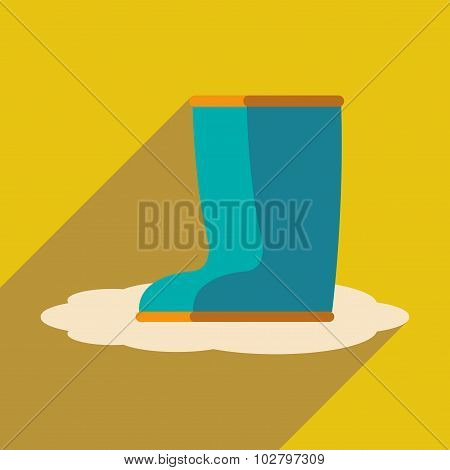 Flat with shadow icon and mobile application rubber boots