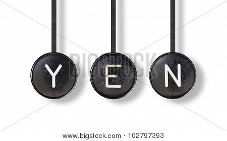 Typewriter Buttons, Isolated - Yen