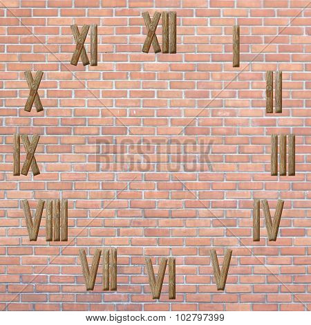 Roman Numerals Clock  On Brick Wall Background