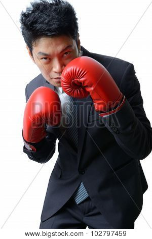 Businessman With Boxing Glove Ready To Fight With Work, Business Concept