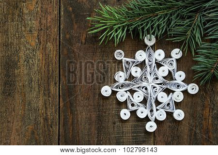 Openwork Snowflake In Quilling Techniques For Christmas Decoration