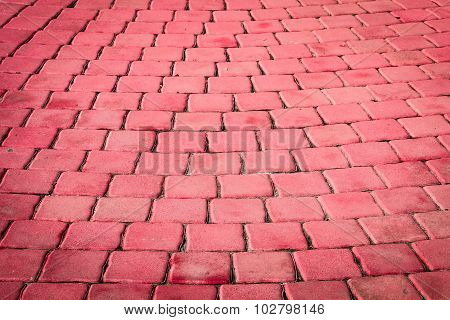Pattern Of Small Red Brick Block On Walkway