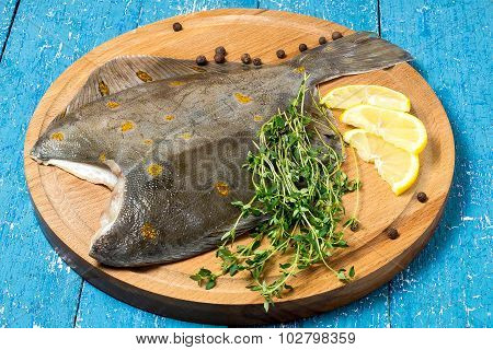 Flounder With Lemon, Thyme And Pepper Prepared For Roasting
