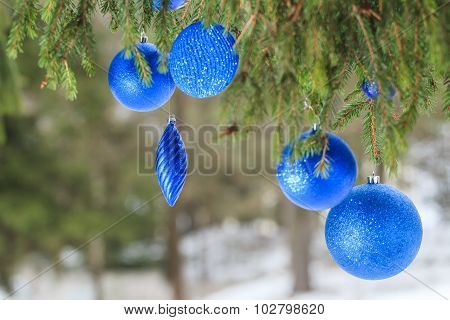 Outdoor Christmas blue textured bauble ornaments hanging on snowy spruce twig