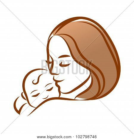 Mother With Her Baby, Outline Vector Silhouette, Mother Care Icon.