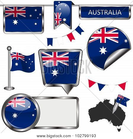 Glossy Icons With Flag Of Australia